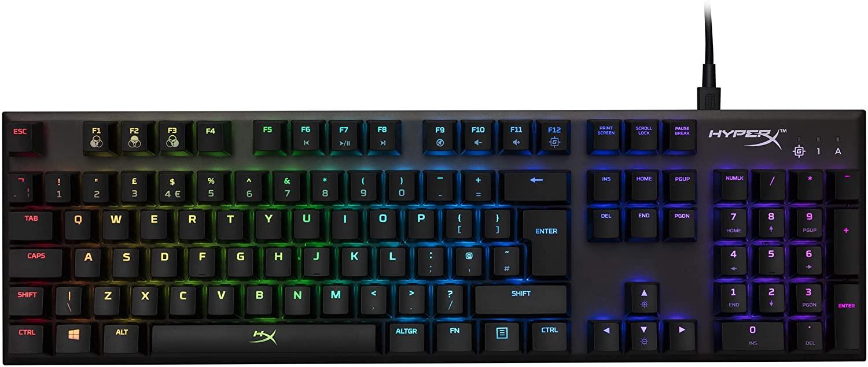 Bàn phím cơ full size KINGSTON HYPERX ALLOY FPS RGB SIVER Cherry MX Blue Sw